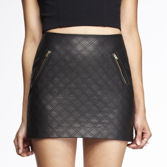 24c6068846 Express Skirts | Womens Quilted Faux Leather Mini Skirt | Poshmark